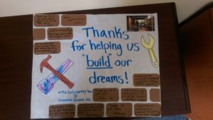 Photo of a thank you poster created by students and staff in Innovative's Early Learning and Child Care Program