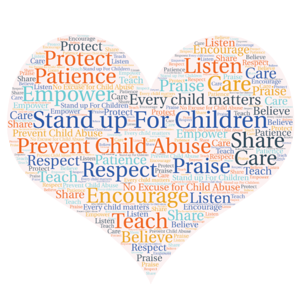 Heart image with descriptive words about preventing child abuse.